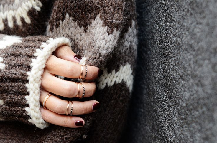 Styleheroine wearing our Apriati pinky rings with white and black diamonds