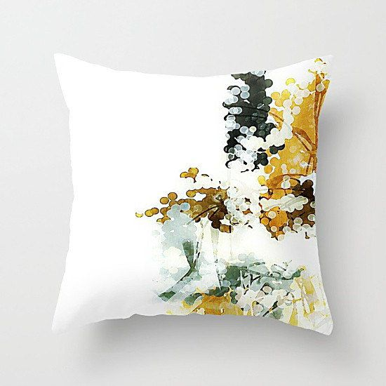 Neutral Pillow Cover, Throw Pillow Cover, White Pillow, Mustard Yellow, Charcoal Gray, Abstract Art Pillow, Cushion Cover, Neutral Pillow
