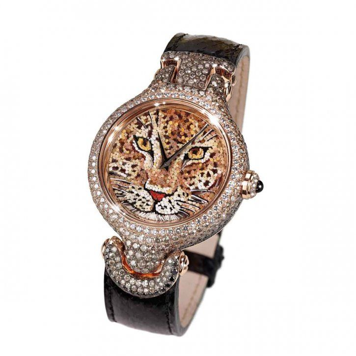 Watch in rose gold 18 kt, diamonds, black diamonds, brown diamonds, sapphires, and dial in micromosaic by SICIS