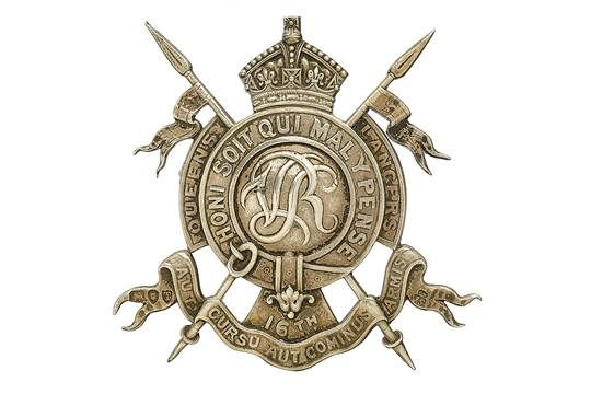 Badge. 16th Queen' Lancers Officer's 1894 hallmarked silver pagri badge. Rare die-cast example by