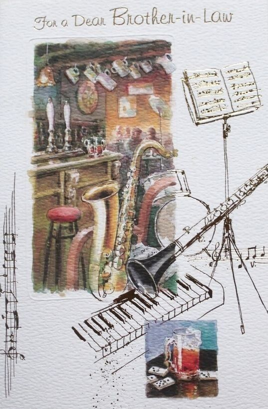 For A Dear Brother In Law Birthday Greeting Card Musical Instruments Theme New