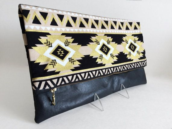 Foldover Clutch Southwest Clutch Aztec Clutch by RavensMoonDesigns