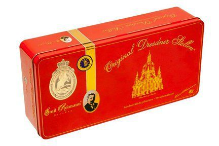 Emil Reimann Dresdner Stollen 'Church of Our Lady' in Red Gift Tin - 1,000g / 35.6 Oz - http://mygourmetgifts.com/emil-reimann-dresdner-stollen-church-of-our-lady-in-red-gift-tin-1000g-35-6-oz/