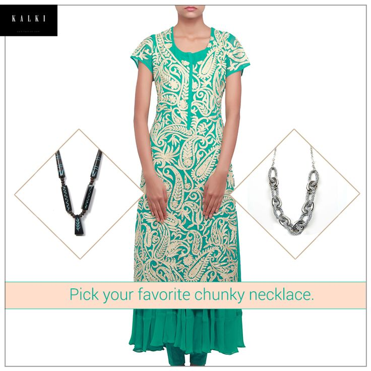 Add some accessories to this gorgeous outfit for a completely fabulous look. Dress in this stunning suit here: http://bit.ly/KalkiGreenSuit