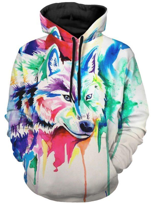 Splatter Wolf Mens Hoodie