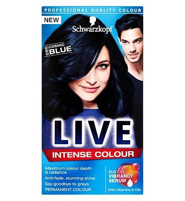 Schwarzkopf LIVE Color XXL HD 90 Cosmic Blue 20 Advantage card points. Experience true HD colour with Schwarzkopf LIVE Color XXL HD Cosmic Blue 90. A rich black shade full of shimmering blue tones for black full of sass. FREE Delivery on orders  http://www.MightGet.com/february-2017-1/schwarzkopf-live-color-xxl-hd-90-cosmic-blue.asp