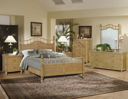 The Bali is a high end wicker group that will turn your bedroom into a tropical paradise. Its all quality with steel glide drawers and heavy wicker weave. It comes in the Antique Honey stain as shown. There is a complete king and complete queen bed available. The sizes in this group run larger than normal and pricing is excellent for such nice wicker bedroom furniture.
