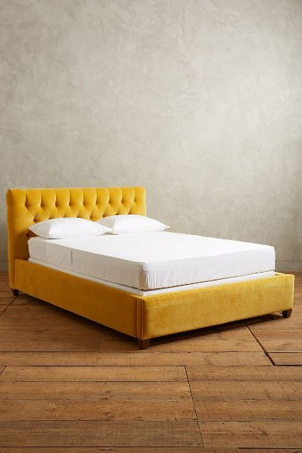 inspiration of what to do with our new platform bed frame... organic linen instead of velvet?