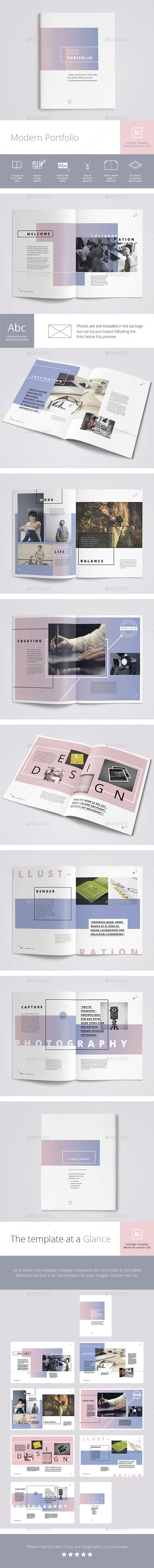 Modern Portfolio Brochure Template InDesign INDD. Download here: https://graphicriver.net/item/modern-portfolio/17517824?ref=ksioks