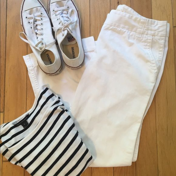 J. Crew weathered classic twill chinos. 12R Classic chinos in white. Looks awesome with a Breton top. J. Crew Pants