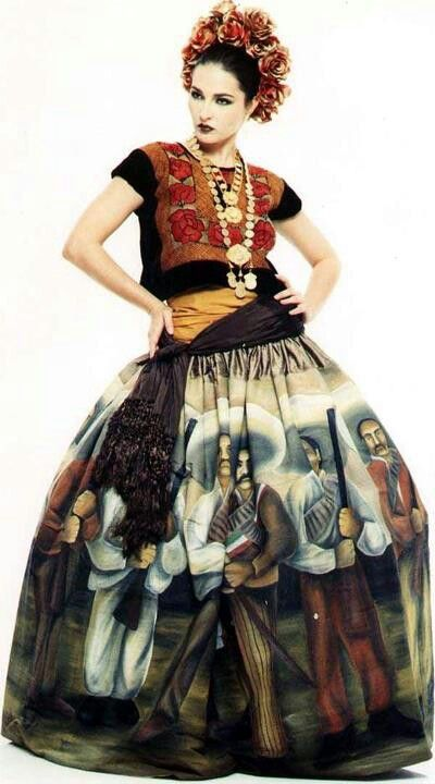 Model wearing a creation by Mexican Armando Mafud, which features a hand-painted skirt.