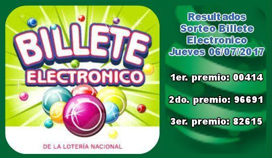 #BilleteElectronico resultados Jueves 6/7/2017