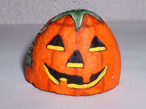 "Halloween Happy Face ""Carved"" Pumpkin Painted Rock Signed Vivian Allen 