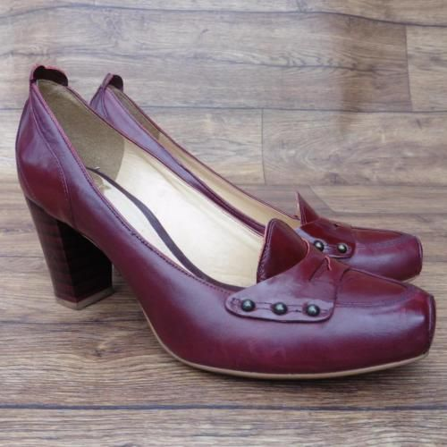 SIZE-UK-4-CLARKS-OX-BLOOD-BURGUNDY-HEELED-LOAFERS-COURT-SHOES-SMART-WORK-SHOES