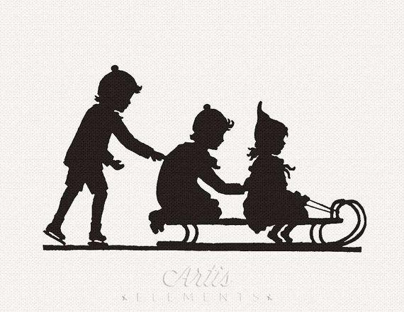 Silhouet van kinderen Rodelen & Ice Skating door ArtisElements
