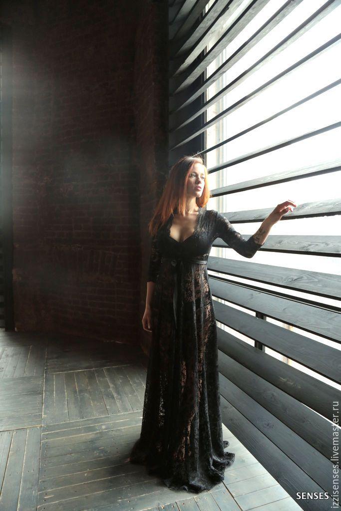 """Купить Будуарное платье, Черный кружевной пеньюар """"Черный лебедь"""" - цветочный, будуарное платье"""