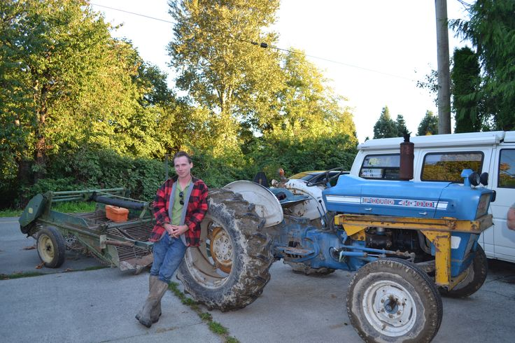 Miles Smart, Farmer on the way to harvest potatoes in his potato field down the road