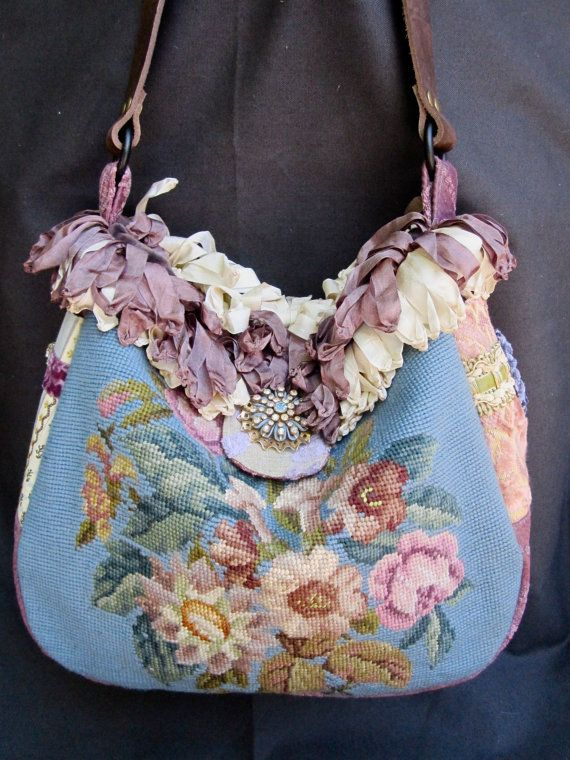 Vintage Velvet Chenille Carpet Bag Blue Flower by LadidaHandbags, $145.00