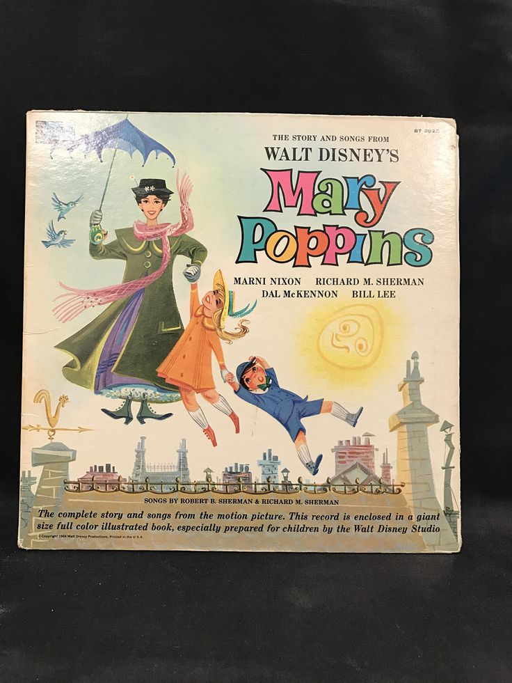MARY POPPINS Record, Mary Poppins Illustrated Story, Walt Disney record, Disneyland Record, Mary Poppins story & music, vintage Mary Poppins by TheJellyJar on Etsy
