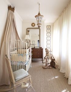 Nursery by Pam Evans.Antique chest & mirror go through life, along with antique chandelier & prints