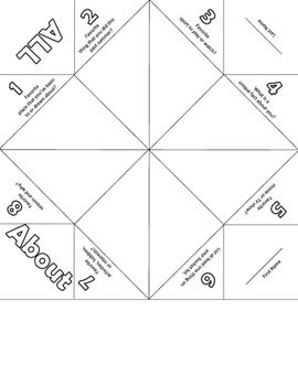 All About Me Cootie Catcher {Fortune Teller} First week activity!