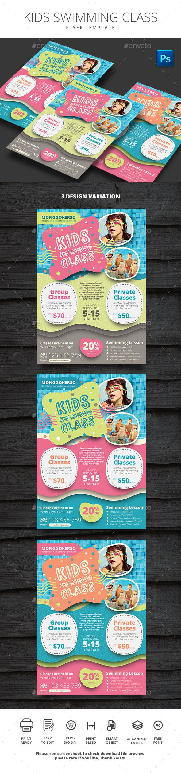 Kids Swimming Class — Photoshop PSD #swimming flyer #lessons • Download ➝ https://graphicriver.net/item/kids-swimming-class/20356693?ref=pxcr