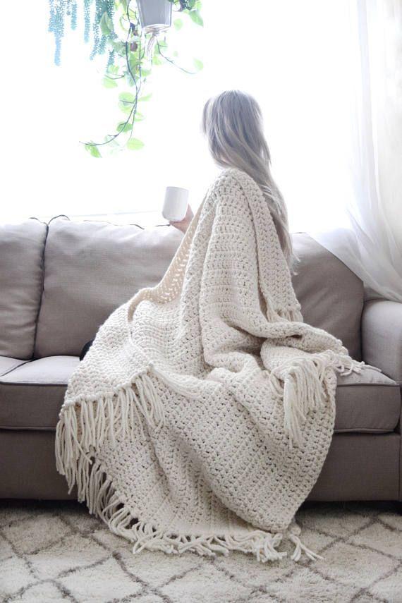 Tiro punto grueso manta ganchillo afgano borlas / tiro | Crochet ...