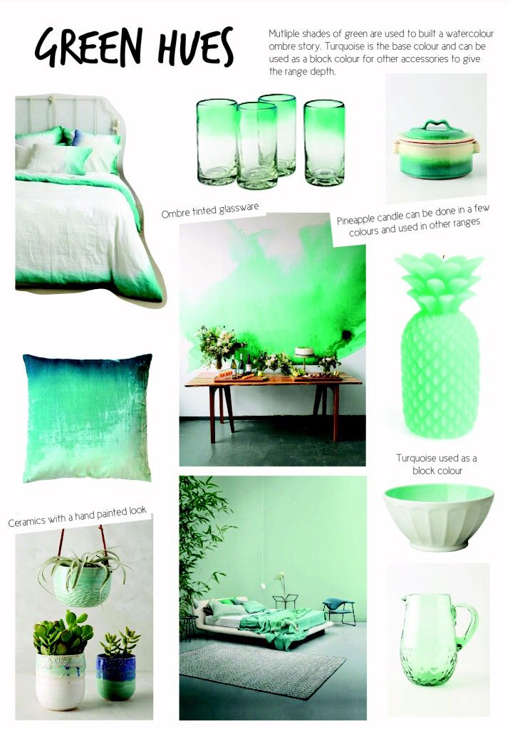 SS15 interior design. Homewares Green Hues