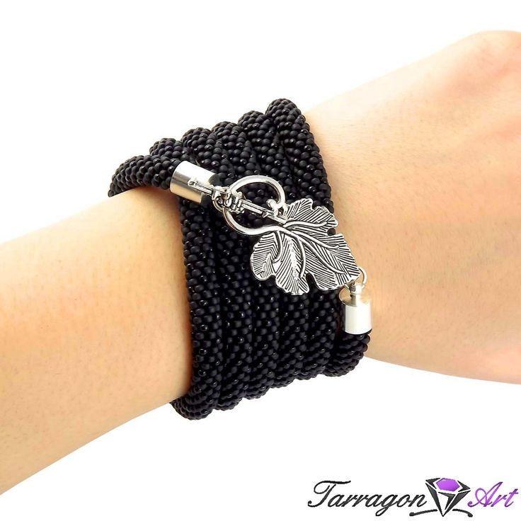 Naszyjnik szydełkowo koralikowy Seed Beads - Dark Leaf | Tarragon Art - stylowa biżuteria artystyczna
