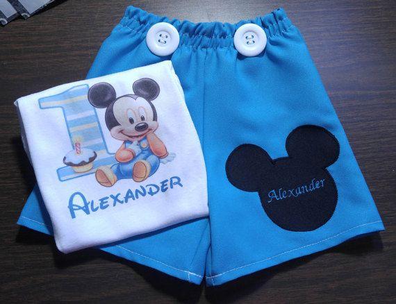 Baby Mickey Mouse cumpleaños primer equipo conjunto 12 M 18