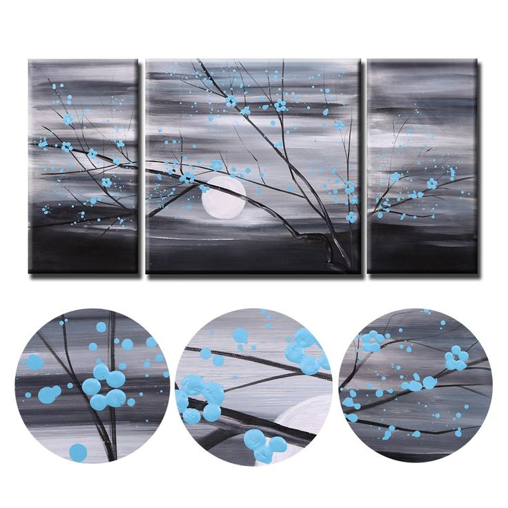 High Quality 3pcs Unframed Hand Painted Modern Abstract Oil Painting Set Canvas Paint Wall Decor Art for Living Room Decoration from tomtop.com