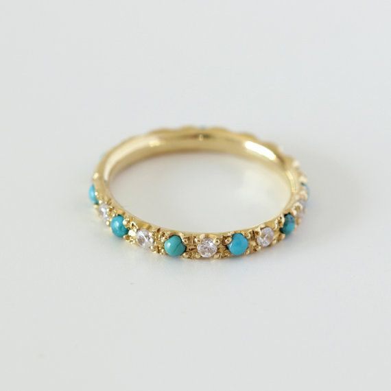 Eternity ring with diamonds and turquoise  18K gold...such a pretty thing.