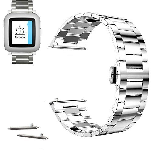 22mm Stainless Steel Butterfly Buckle Watch Band For Pebble Time, Pebble Time Steel 2015 (YESOO Retail Packaging - 180 Days Warranty) (Link Silver) #Pebble Watch