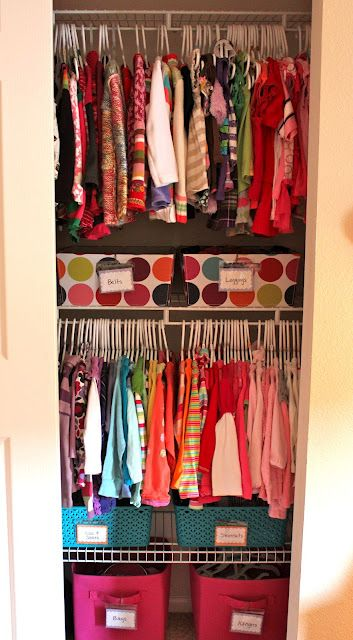 organize kids closets, Great Organization for such a small space. We have the polka dot bins already too!