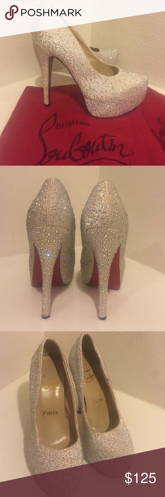 Diamonte heels Red bottoms looks soooo gorgeous (NOT REAL CL) Shoes say size 5(35) on the bottom but can also fit a 6(36) as well.. I am a true size 6 and fits me perfect.         Comes with dust bags 😄 Christian Louboutin Shoes Heels