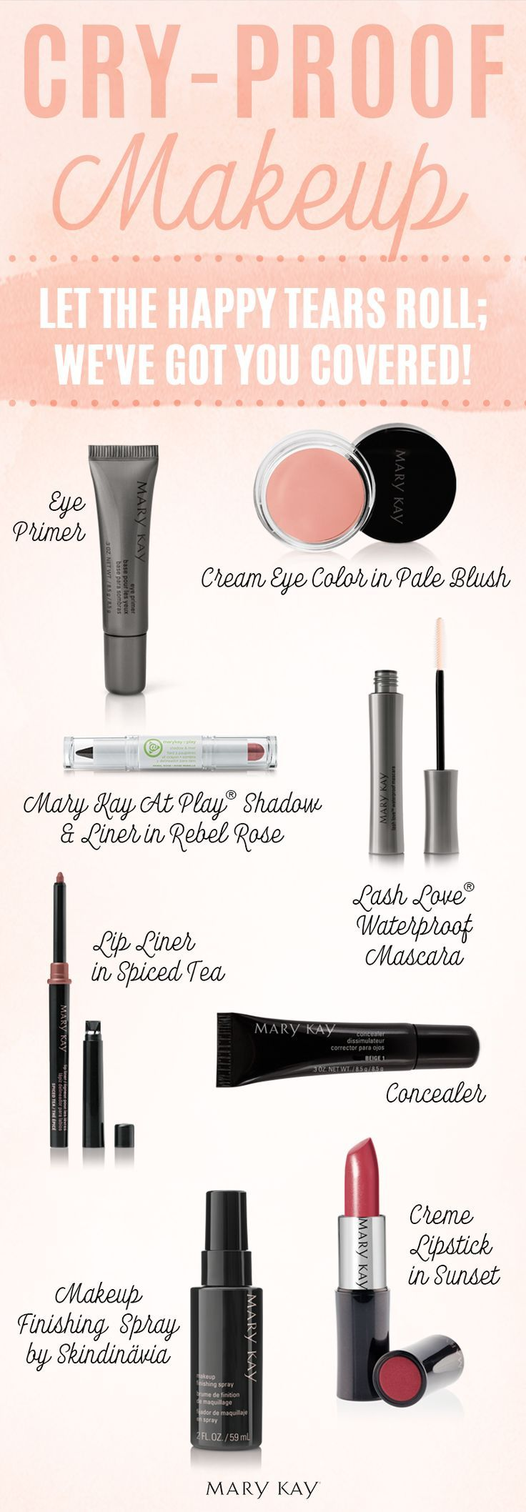 This wedding season, feel free to let the happy tears roll. We've got you covered with cry-proof makeup that will keep you looking picture-perfect all night long, no matter how touching the vows are. | Mary Kay