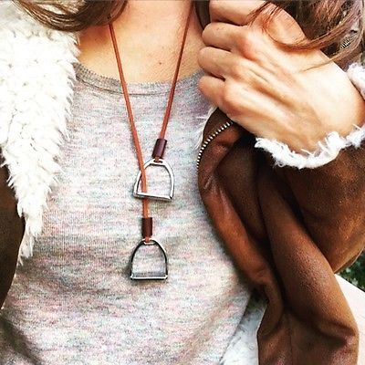 Horse Necklace Horse Jewelry Equestrian Necklace Horse Lovers Stirrup Dressage
