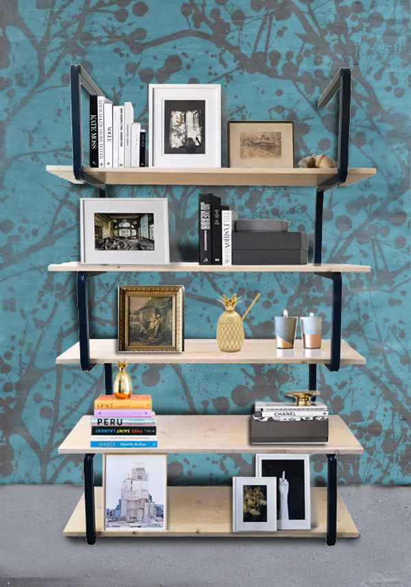 Minimal design exhibitor Scomposition line with vintage effect shelves