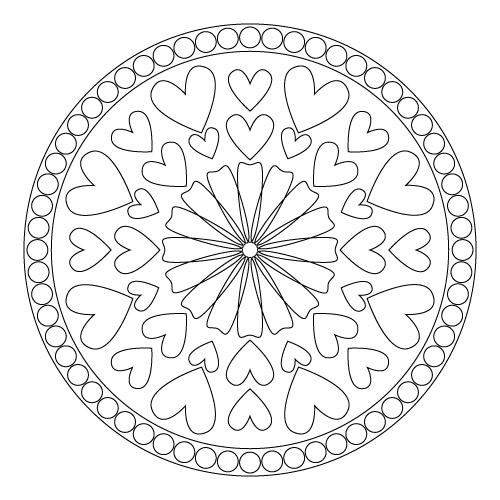 coloring pages--heart mandalas
