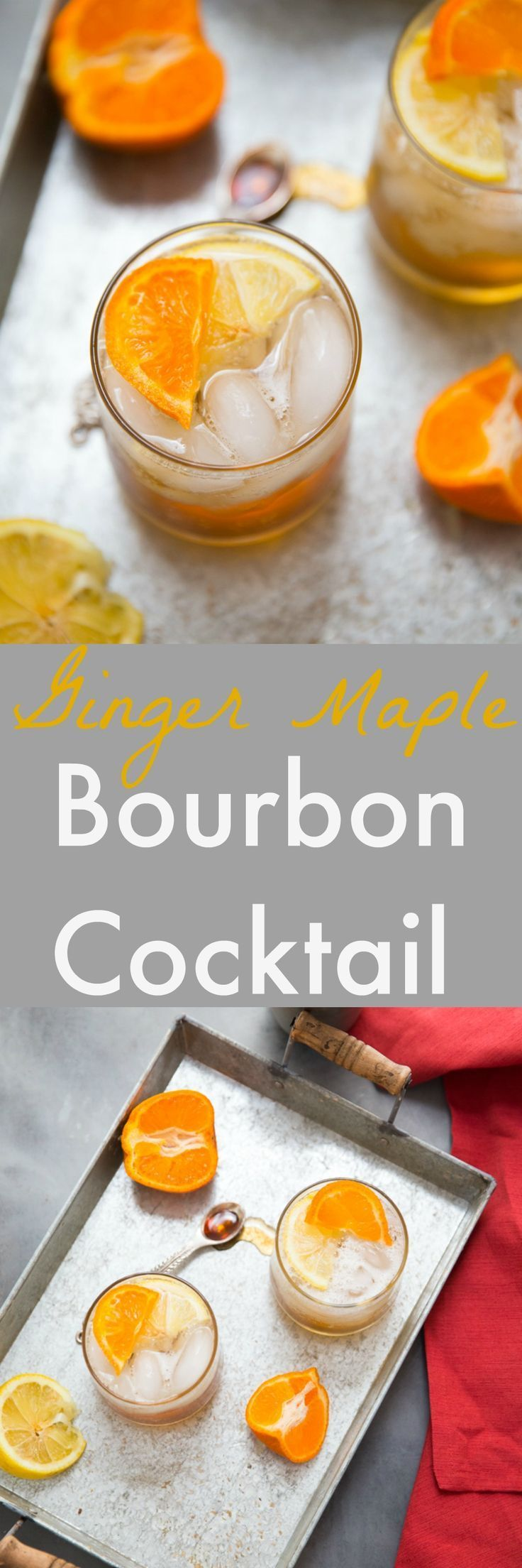 Pure maple syrup brings earthy sweetness to the bourbon cocktail.  Citrus keeps the taste fresh while ginger adds a little bite. #bourbon #cocktail via @Lemonsforlulu