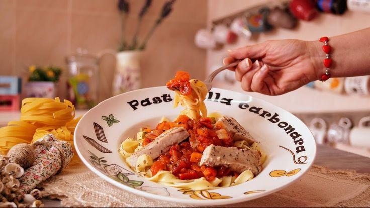 Pasta Tagliatelle con verduras y lomos de atún / receta casera y facil  /