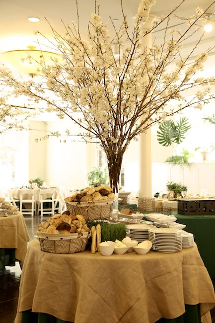 Green Bar Mitzvah - Cherry Blossom Centerpieces (Florie Huppert Design) - mazelmoments.com