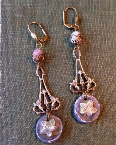 """Art Bead Scene Challenge Jan 2018.  """"Ivy Trellis Earrings"""" by Sarah Raines featuring my own polyclay charms, amethyst, and Vintaj components"""