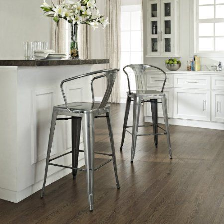 "Amazon.com - Amelia Metal Cafe Barstool with Back in Galvanized Finish - Set of 2 - I love the idea of using these in the kitchen and putting a breakfast bar where the ""hutch"" was supposed to be?"