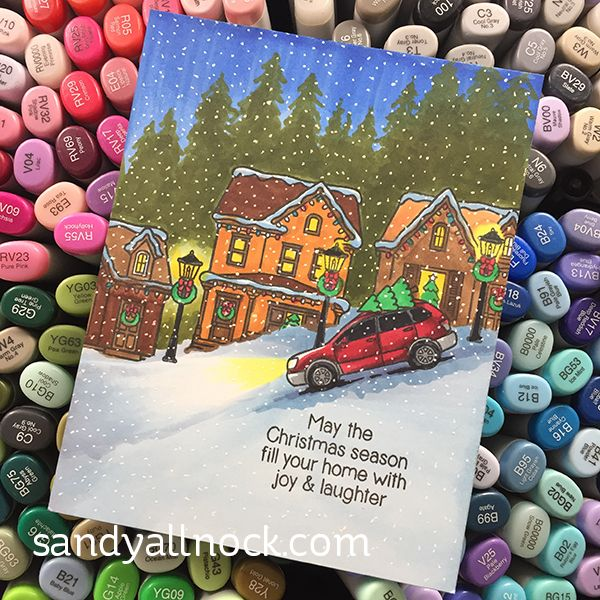 Light Source Focal Points in Scenes – Sunny Studio Chrsitmas Home Card – Sandy Allnock