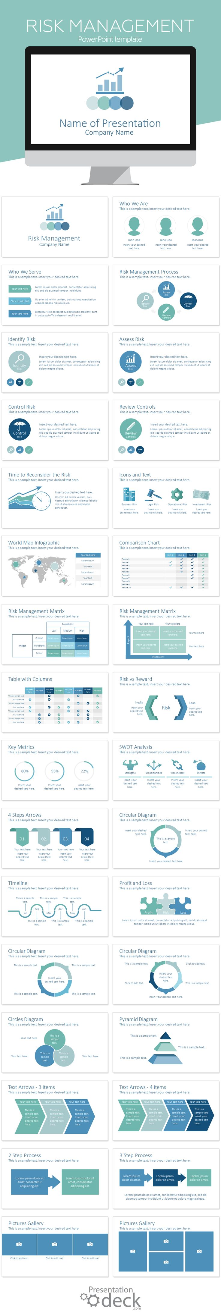 Risk management PowerPoint template with 32 pre-designed slides. All design elements are vector-based and fully editable in the slide master view in PowerPoint. Energize your presentation today with this risk management PowerPoint template!