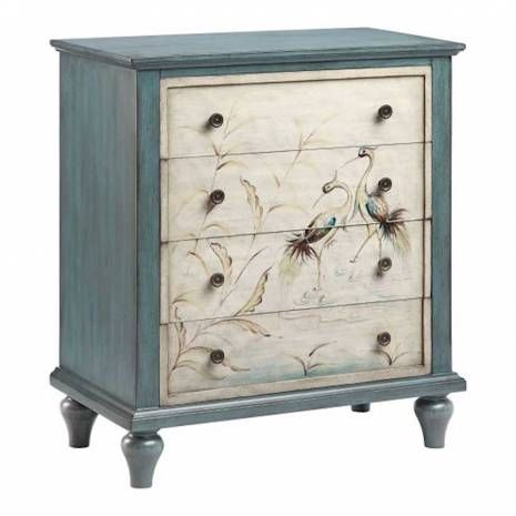 Furniture :: Curio Cabinets and Chests :: Accent Chests  Transitional Accent Chest in Blue Bayou and Cream FinishThe Heron accent chest offers transitional styling allowing it to work within a variety of decors. This chest features a hand-painted blue bayou finish with cream drawer fronts with a hand-painted Heron scene. With four drawers this piece gives you ample storage space to help keep your home organized.