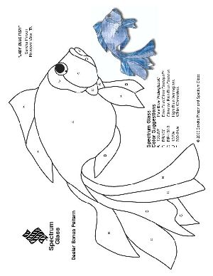 Free Stained Glass Pattern 2179-Lady Blue Fish