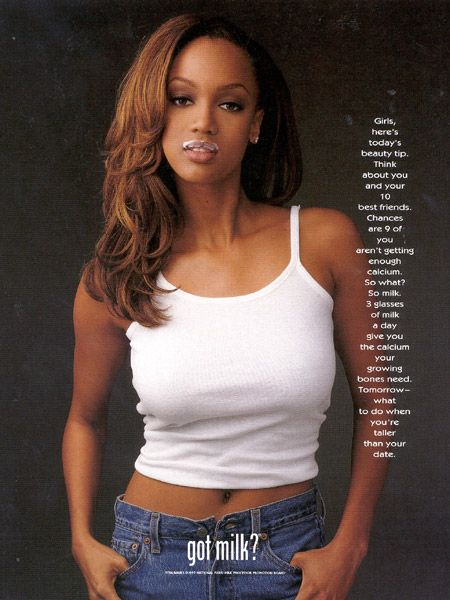 "Tyra Banks in ""Got Milk?"" I remember when unbuttoned jeans were ""in"" ;)"