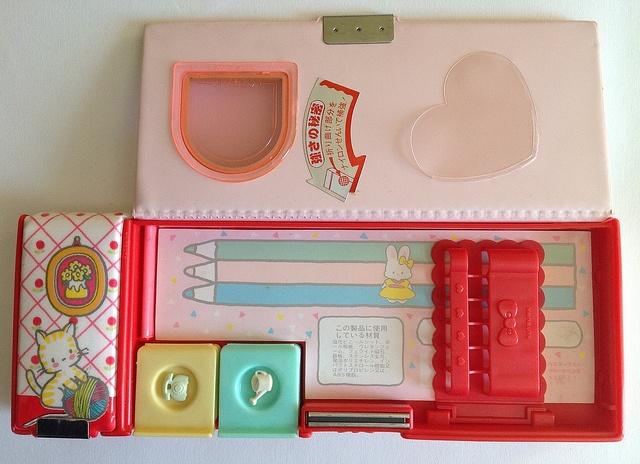 Heart to Heart pencil case - interior view, via Flickr.